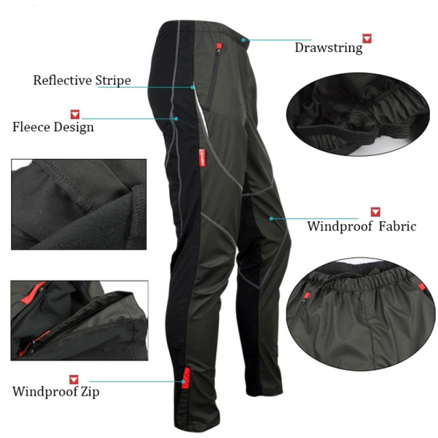 Santic Winter Cycling Long Pants Men Cycling Loose Pants Windproof Thermal Cycling Pants Fleece Warm Trousers Sports C04007