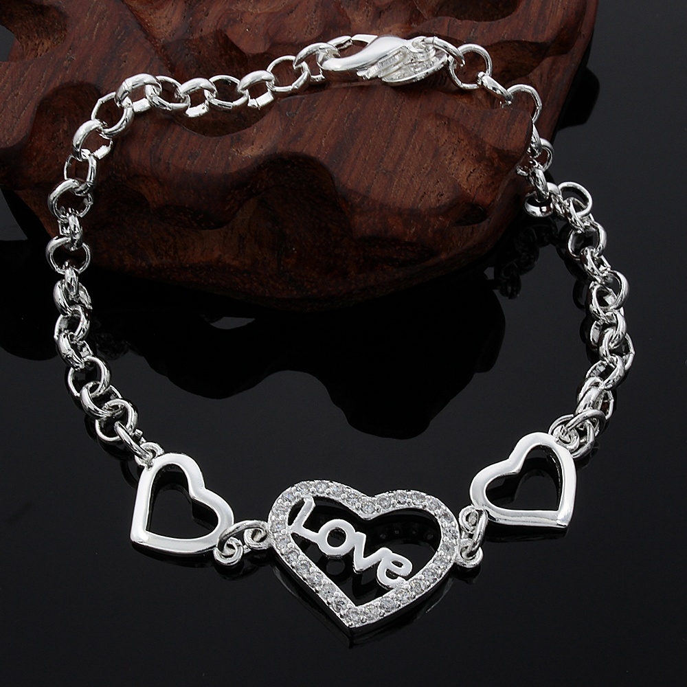 New wholesale charm fashion women High quality  silver color  classic simple bracelet jewelry sweet style free shipping