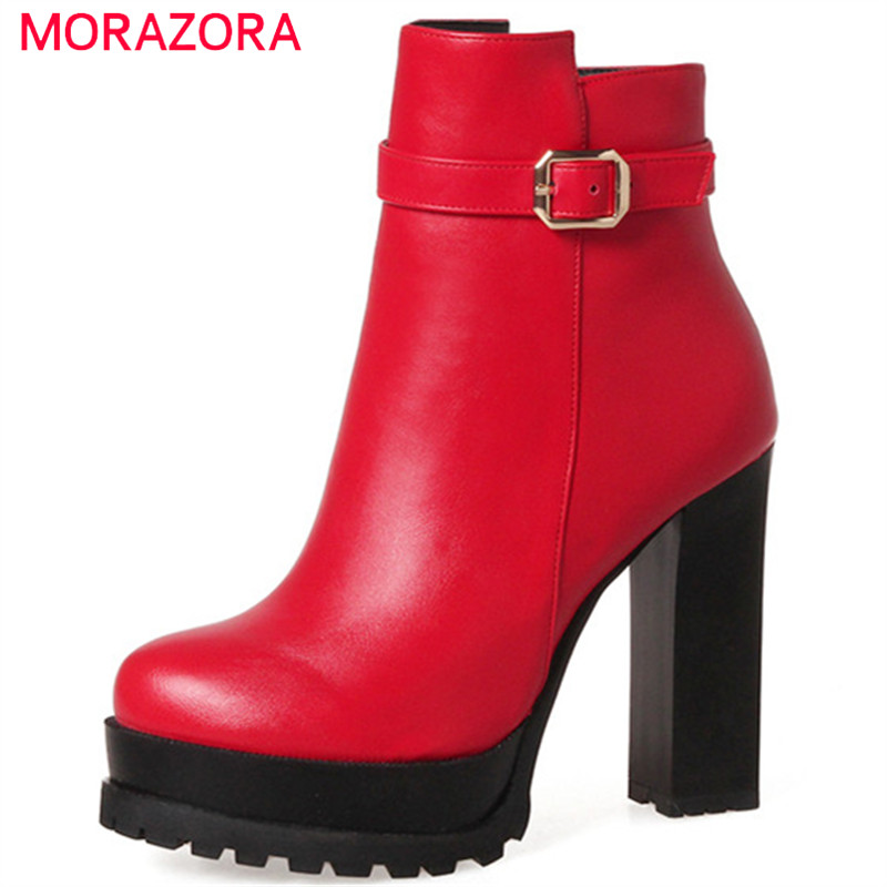 MORAZORA Large size 34-43 high heels shoes woman fashion boots PU soft leather womens boots platform solid zip morazora bind pu solid high heels shoes 5cm in summer fashion elegant party shoes sandals party large size 34 42