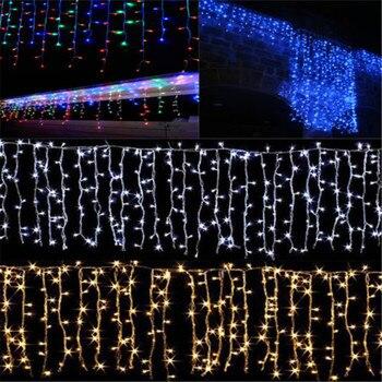Noel Yeni Yıl Çelenk LED Perde ışıkları Saçağı Dize Işık 4M Düşüş 0.3-0.6M Açık Dekorasyon Festivali Düğün Parti