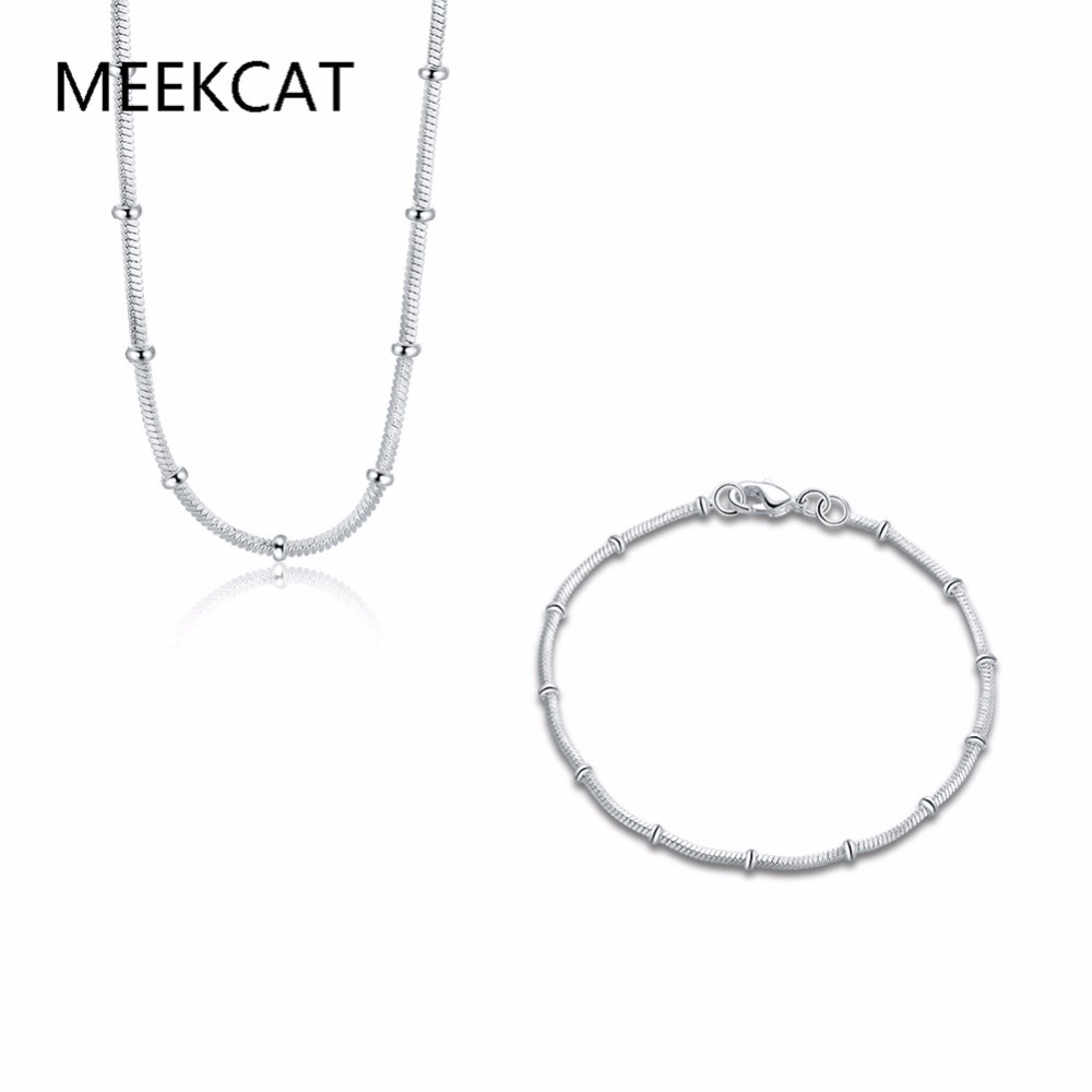 Woman's jewelry 925 stamped silver plated snake chain with beads 45cm necklace 20cm bracelet Set male Bijoux Drop shipping