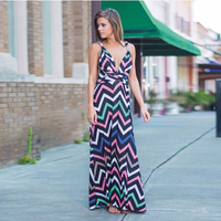 Bohemian Style Maxi Dress Beach Dress Summer Boho Dress Striped Print Deep V Neck Backless Maxi