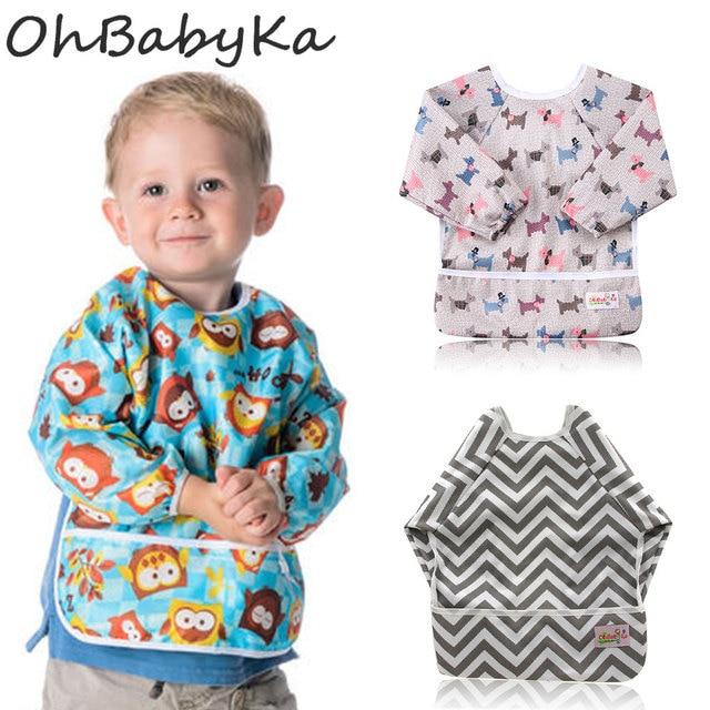 Ohbabyka Waterproof Baby Eating Children Drawing Cute Cartoon Baby Bib Long  Sleeve Polyester Bib Apron Baby