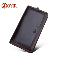 JOYIR 2019 Genuine Leather Men Long Clutch Wallets Double Zipper Vintage Coin Purse Card Holder Wallet For Man 9313