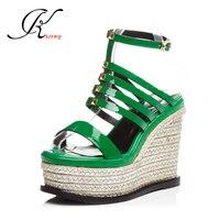 2017 Platform Sandals Sexy Ladies Wedges 12 Cm Super High Heels Summer Style Women Pumps Green