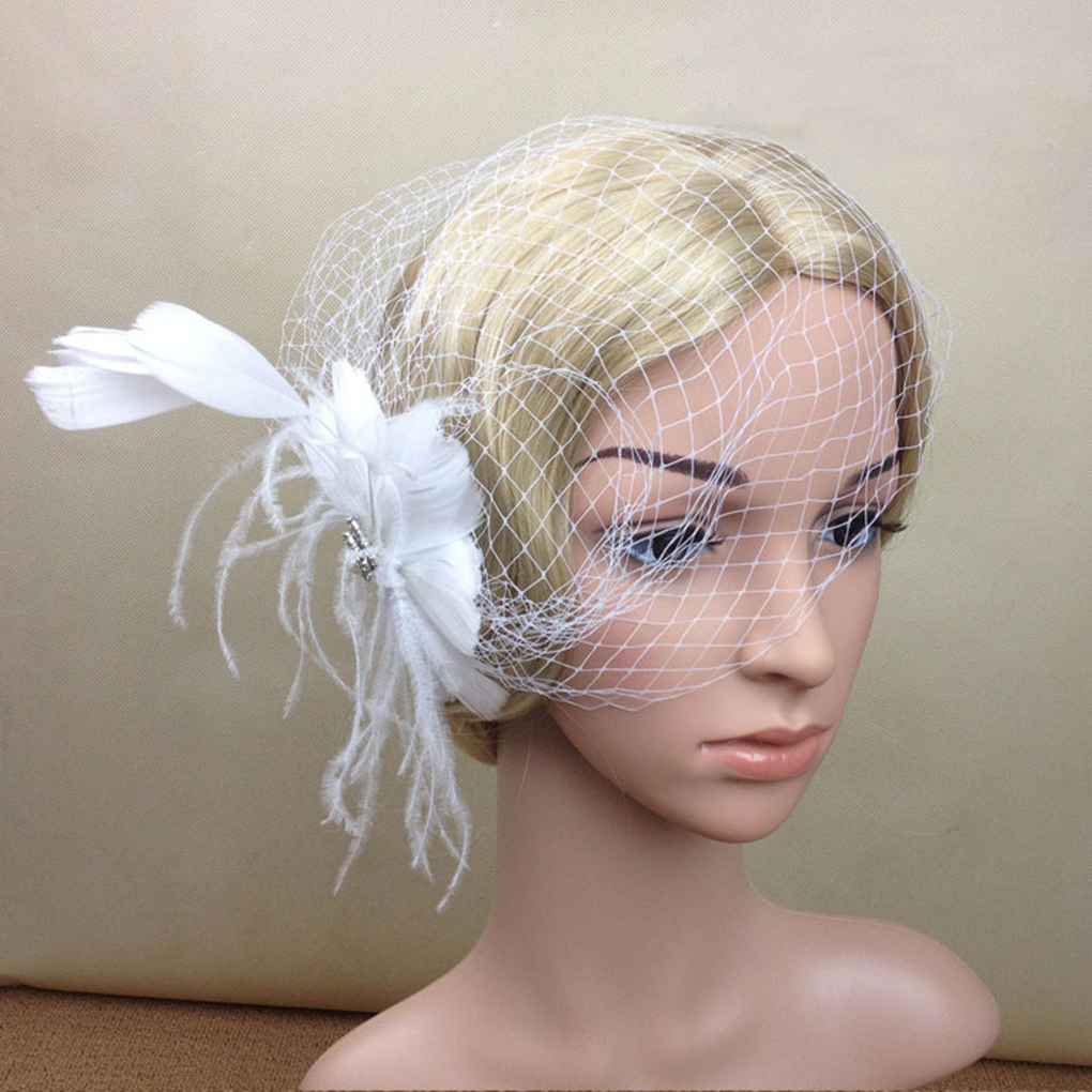 New hot Women Feather Net and Veil Hat Hair Clip Headdress Headwear HairPins for Wedding Party Dress Decoration White