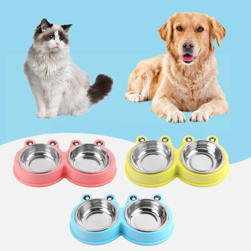 Stainless Steel Pets Double Dog Cat Bowl Non-Slip Puppy Food Drinking Water Feeder Bowl for Cats Dogs Supply image