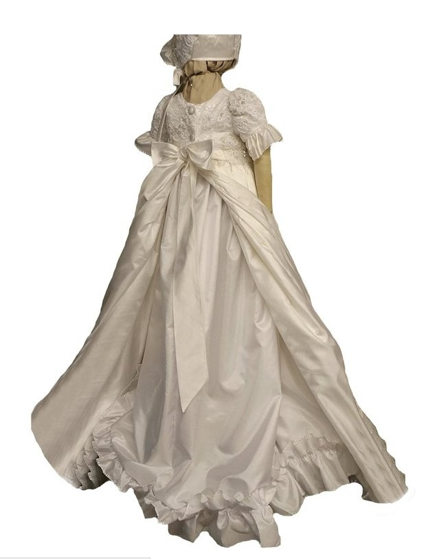 Free Shiping Flower Girls Dresses For Wedding Gowns Ankle- Length Baby Girl Clothes Lace Communion Dresses
