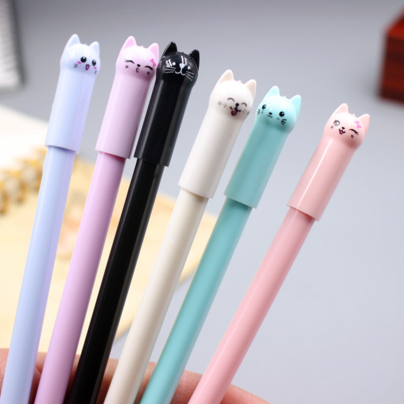 6Pcs/set 0.5mm Cats Gel Pen Cute Pen Stationary Kawaii School Supplies Gel Ink Pen School Office Suppliers Pen Kids Gift цена
