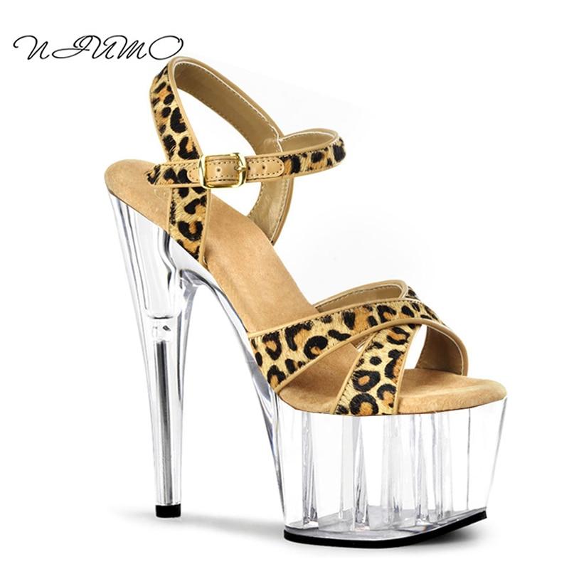 2017 summer new sandals Sexy Leopard Crystal Shoes 15cm High heels nightclub fun shoes цены онлайн