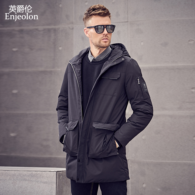 Enjeolon Brand Winter Cotton Padded Jacket Men Long Jacket Men Thick Hoodies Parka Coat Male Quilted Winter Jacket Coat MF0626