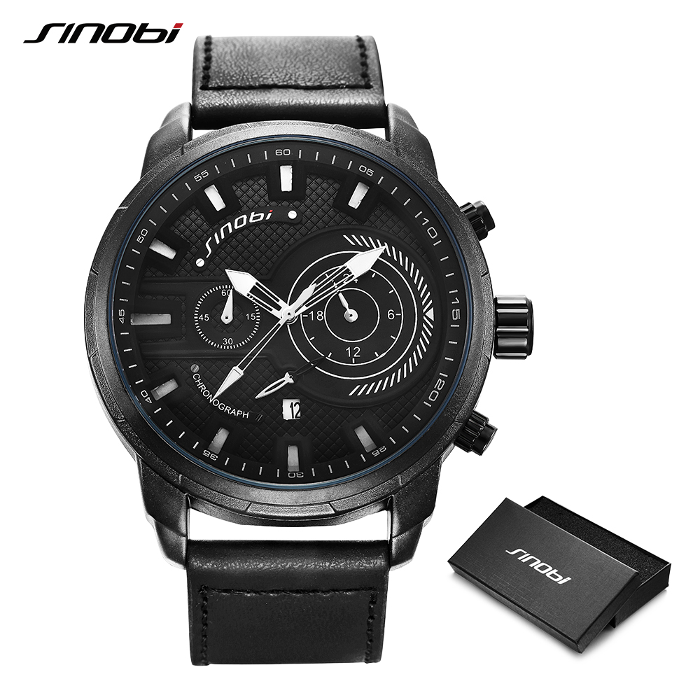Mens Watches SINOBI Top Brand Luxury Waterproof Luminous Japanese Quartz Wristwatch Man Fashion Leather Sports Watch Men Clock in Quartz Watches from Watches