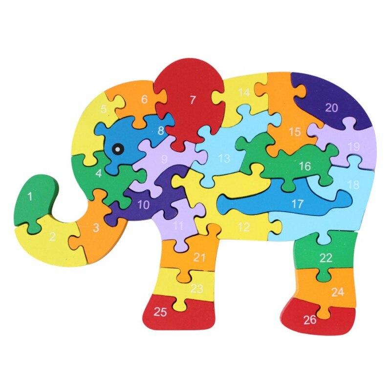 26 шт. 26 букв головоломки для детей буквенно-цифровой распознавания животных Слон деревянные головоломки Развивающие игрушки для детей Лиде...