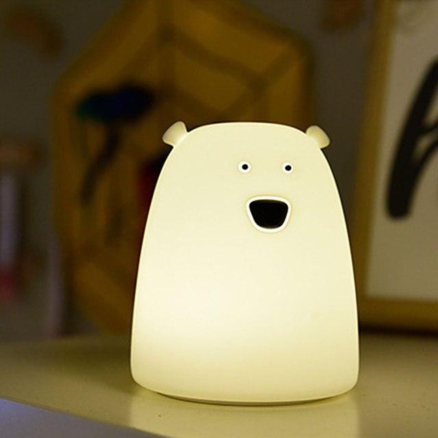 Lámpara de noche para dormitorio de niños, bonito Oso de silicona, luz LED de noche con cambio de Color, luz LED de noche para regalo de juguete infantil