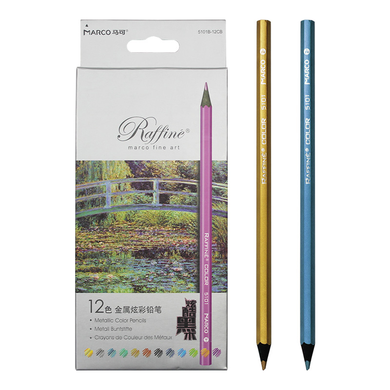 Marco Raffine Fine Metallic Color Pencil Set Professional Painting Art Black Wood Pencil Metal Crayon Drawing Stationery School lomond fine art metallic