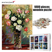 MOMEMO The Flower Painting Puzzle 1000 Pieces Adult Entertainment Puzzle Toys Wooden 1000 Pieces Puzzle for Children Gifts momemo the cat and night sky pattern puzzle 1000 pieces wooden adult entertainment puzzle 1000 pieces puzzle assembling game