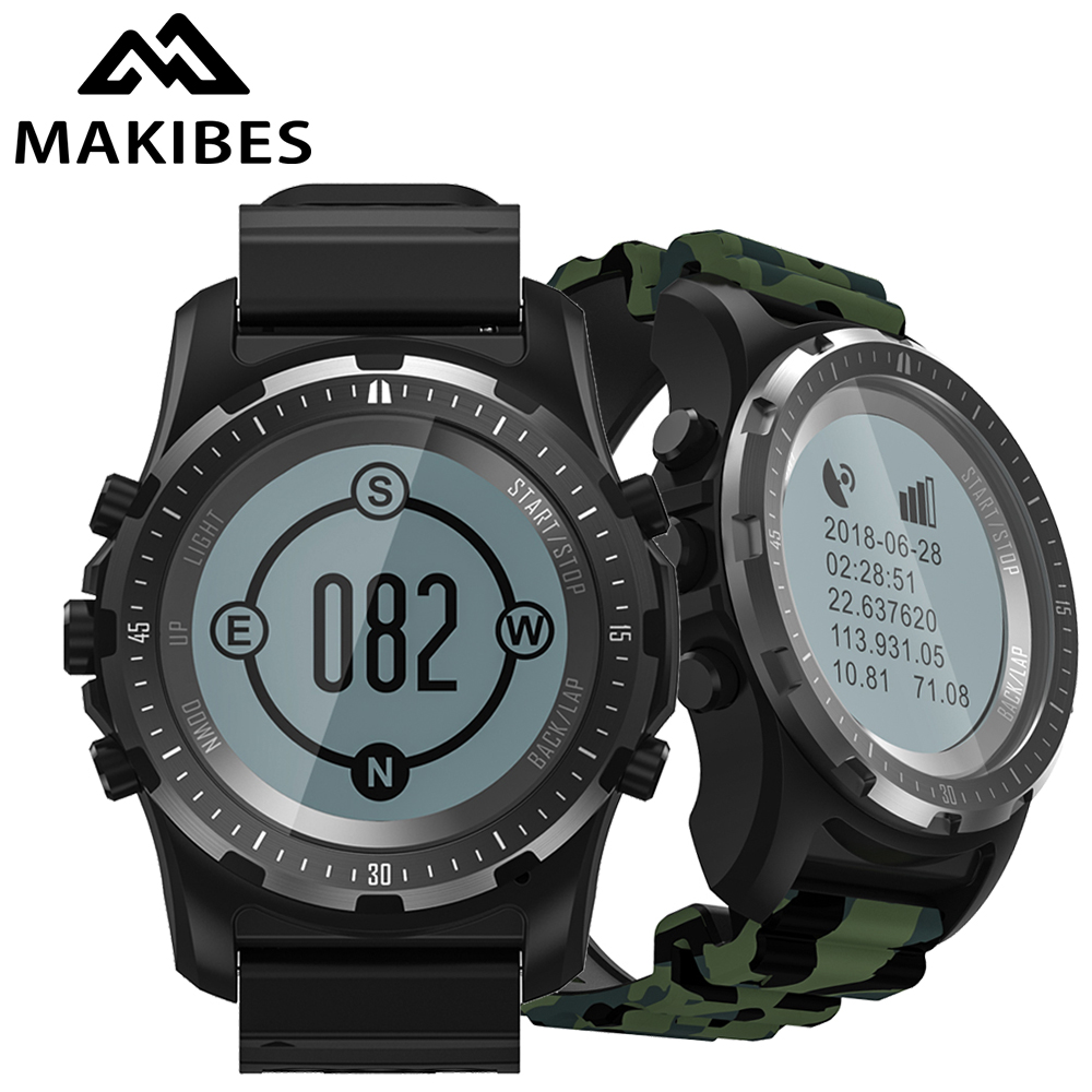 Makibes BR2 GPS Compass Bluetooth wristwatch HIKING Heart Rate monitor Men fitness tracker Sport Smart Watchs