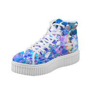Noisydesigns women Flat Platform Shoes Colorful Glass Print High Top Canvas Creepers Female Ankle Boots Wedge Height Increasing