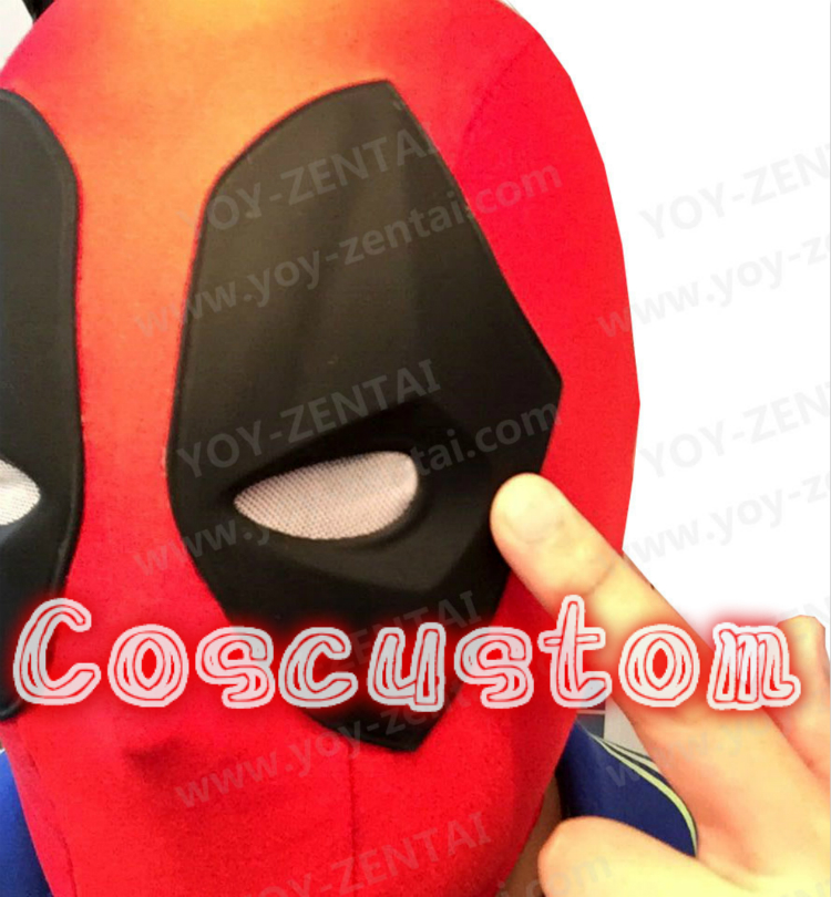 High Quality Deadpool Mask Movie Deadpool Face Mask Deadpool Hood Spandex Lycra with Soft Rubber Lenses
