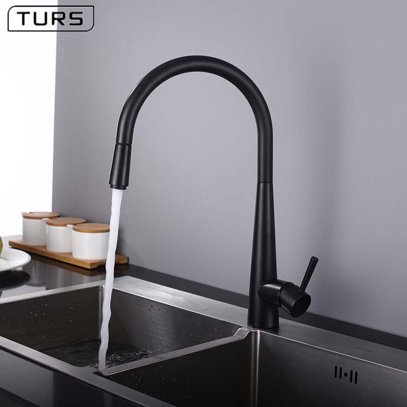Brass Black Kitchen Faucet High Arch Kitchen Sink Faucet Pull Out Rotation Spray Mixer 2-Function Water Outlet Mixer Tap kitchen faucet rotation rule shape curved outlet pipe tap basin plumbing hardware brass sink faucet