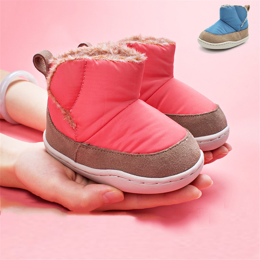 ФОТО Baby First Walker Shoes Winter Newborns Boys Girls Warm Winter Footwear Toddler Baby Boots Pink Blue Booties For Newborn 60A1015