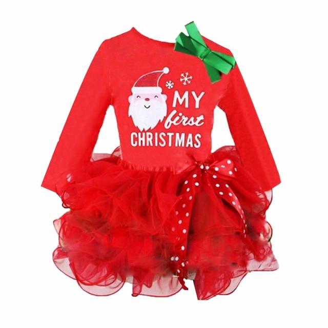 a0de5d94 Baby Girl kids my first Christmas long sleeve dress Santa Claus Print Mesh  patch layer ball gown tutu Dress Clothes Outfit Set