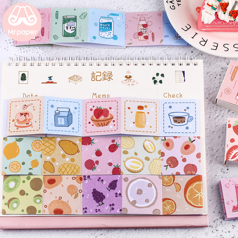Mr paper 48Pcs box Cute Fruit Snack Juice Flowers Scrapbooking Deco Stickers Japanese Kawaii Creative Stickers Easy to Tear in Stationery Stickers from Office School Supplies