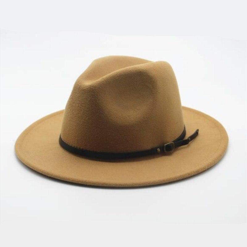Wool Fedora Hat Hawkins Felt Cap Wide Brim Ladies Trilby Chapeu Feminino  Hat Women Men Jazz ... 9cf57b8736b7