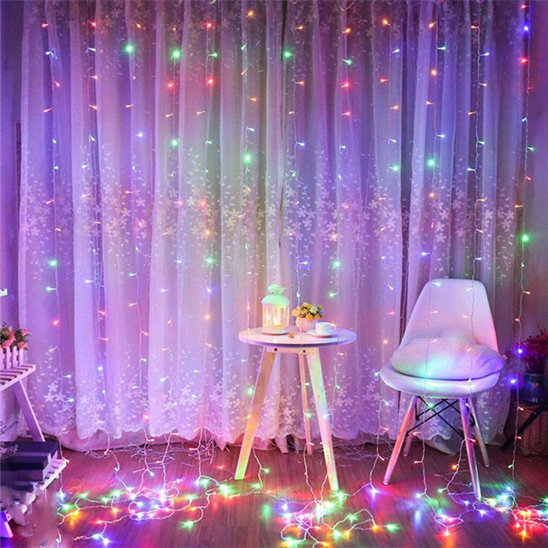 3x3m UL588 Curtain Light 300LED Ice Bar Curtain Light IP44 Waterproof Christmas Light For Indoor Outdoor Home Luces Decor CA69 skeleton printed waterproof bath curtain