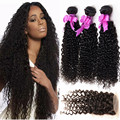 Malaysian curly Hair with closure 3 bundles with closure mink hair lace closure with bundles human hair with closure free part