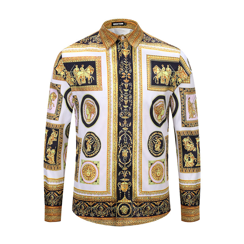 Seestern Brand Men's Long Sleeve Shirts 3D Printed Greek Goddess Medusa Fashion Hot Sale Leisure Western Shirts Man Camisas