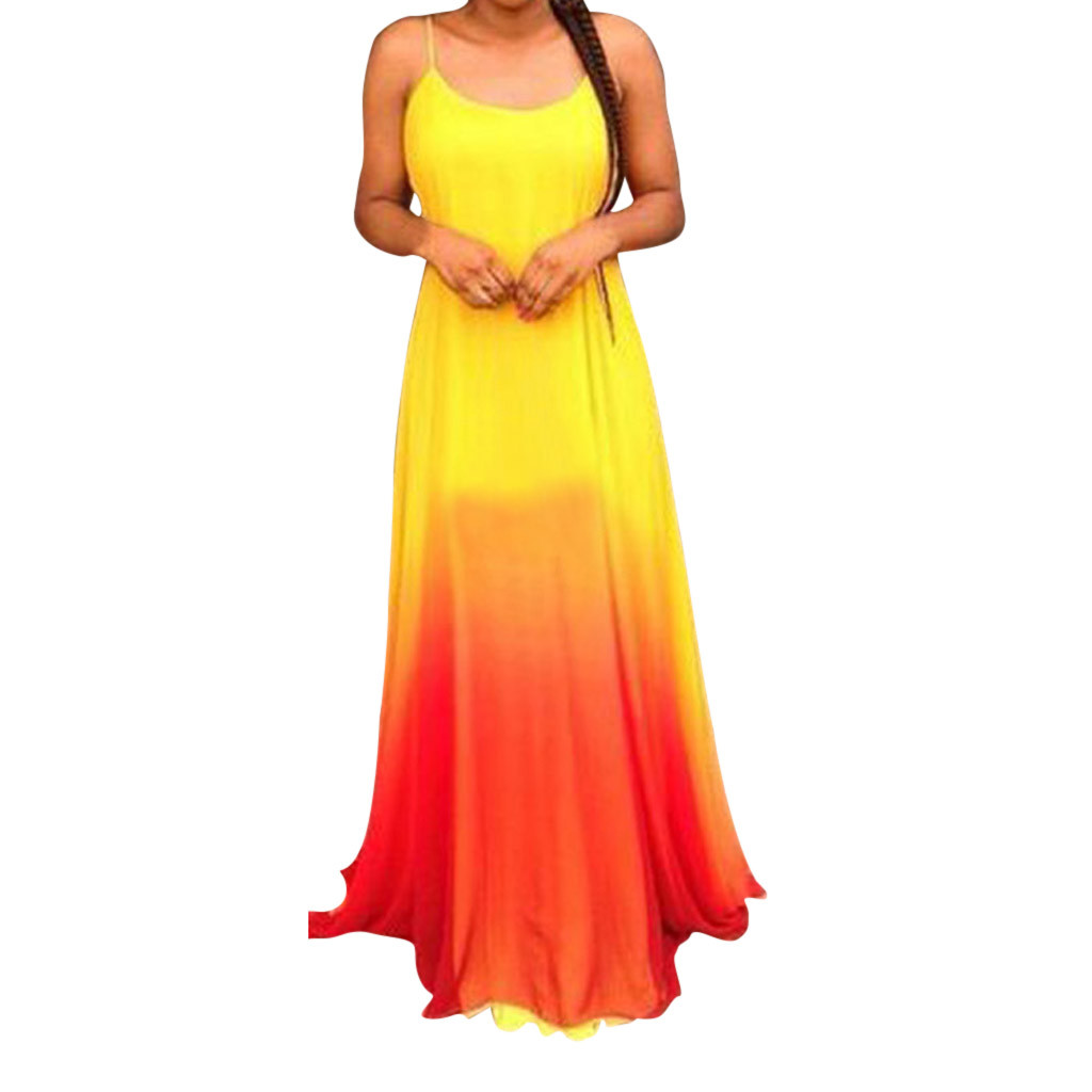 Sundress Women's Sexy Sling Fashion Dress Gradient Color Dress long Dress S-5XL Women Clothes <font><b>2019</b></font> <font><b>vestido</b></font> <font><b>largo</b></font> <font><b>verano</b></font> <font><b>mujer</b></font> image