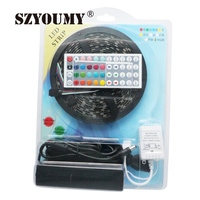 SZYOUMY Black PCB Board 5050 LED RGB Strip 5M IP65 Led Tape Waterproof 300 Leds/Roll +44 Keys IR Remote+60W Adapter Blister Pack