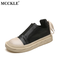 MCCKLE Female Flat Lace Up Elastic Band Platform Casual Shoes 2017 Ladies Fashion Black Autumn Rubber
