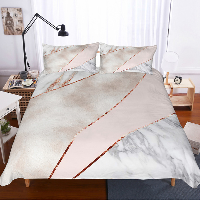 Musolei Bedding Set Rose Gold Geometric Marble Texture Duvet Cover Soft Comforter Pillowcase Bed Unique