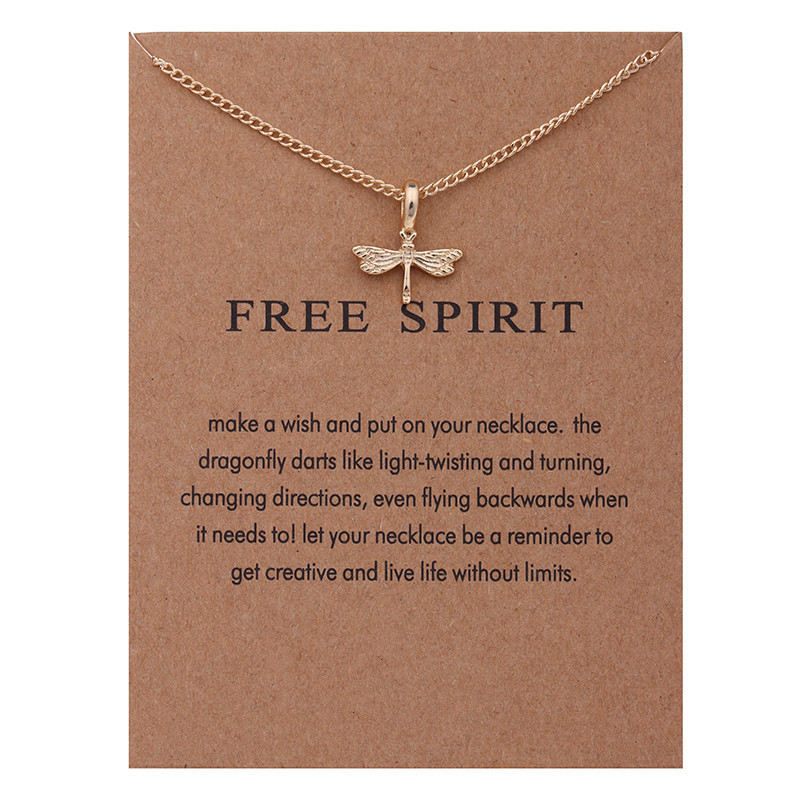 Fashion Jewelry Reminder Free Spirit Gold-color Dragonfly Pendant Necklace Women