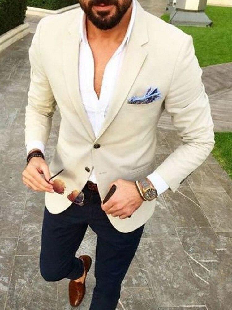 Latest Coat Pant Designs Casual Beige Men Blazer Tuxedos Navy Blue Pants Spring Summer Wedding Party Prom Street Suit 2PCS Terno