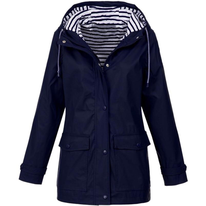 Rain Coat Women Plus Size Coat 2018 Long Sleeve Waterproof Jacket Hooded Raincoat Jacket Women Clothes Warm Coat Girl #O11 (25)