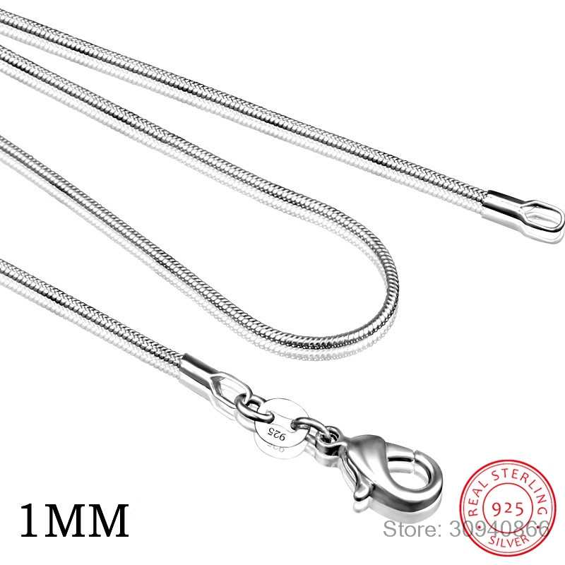 40 Cm-60 Cm Kecil Nyata 925 Sterling Silver 1 Mm/2 Mm Slim Ular Kalung Rantai kalung Wanita Perhiasan Italia Collier Collares Hadiah