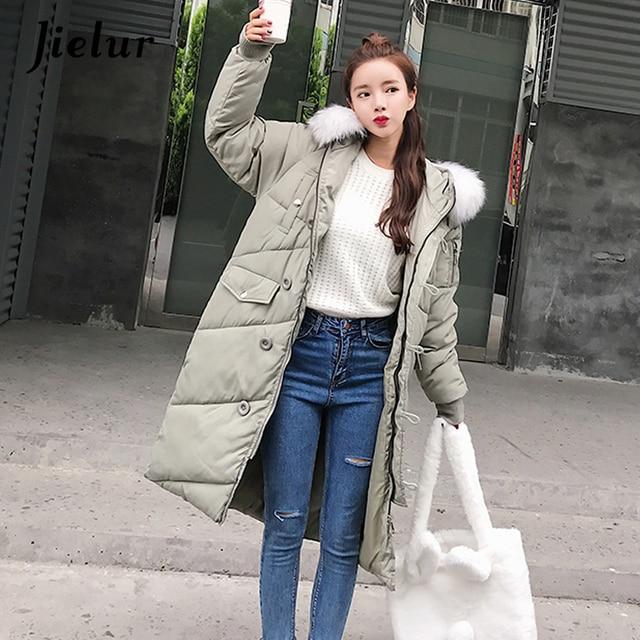 Jielur 2018 Korean Stylish Fur Collar Hooded Winter Down Jacket High Street  Fashion Buttons Elegant Lady
