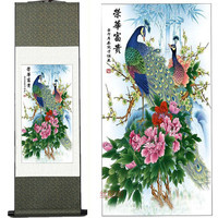 Home Decor Silk Ink Flower And Bird Painting Traditional Chinese Painting Peony Peacock H Decorative Painting