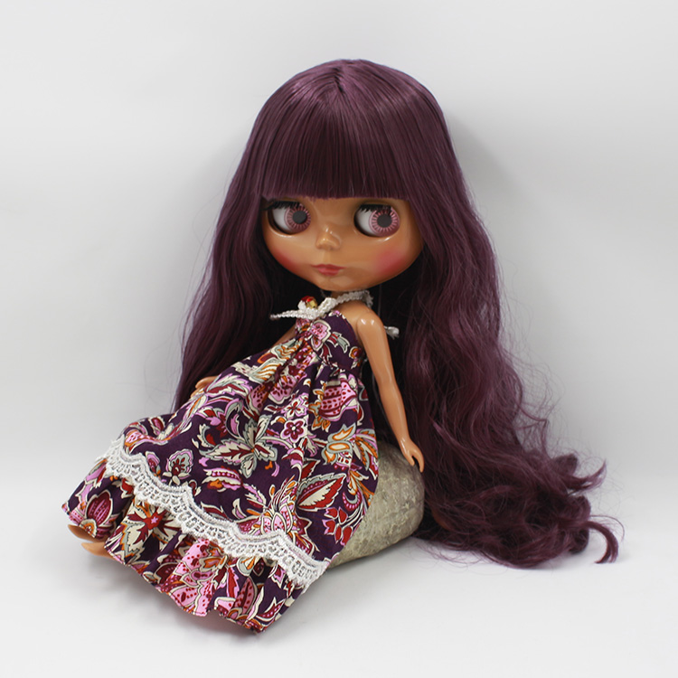 12 Inch Fashion Neo Nude Black Blyth Doll DIY Makeup Purple Long Hair With Bangs Princess Dolls For Girls Gifts  free shipping neo blyth nude doll light gold hair with bangs suit for diy fashion dolls