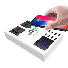 INGMAYA USB מטען LED להראות עבור Huawei Mi צ 'י אלחוטי AC שקע תחנת טעינה עבור iPhone X Rs Samsung Galaxy s10 AC מתאם