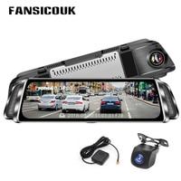 FANSICOUK Smart Rearview Mirror Car DVR 10'' Touch 1080P Registrar Dual Lens Dash Cam GPS Track Night Vision Auto Camera