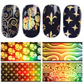 1 Roll Gold Starry Nail Foil Laser Nail Sitckers Chameleon Flower Star Foils Paper Manicure Nail Art Sticker Decorations 4*120cm