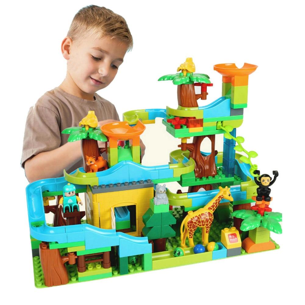 Marble Run Forêt Glissière À Billes Piste blocs de construction Grand Bloc Brique jouets éducatifs pour Enfants KidsToy Cadeau Bébé Briques