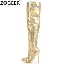 99621cd650 Plus Size 48 Novas Mulheres Botas Fetiche Patente Moda de Couro Sobre O Joelho  Botas Sexy Boate Senhoras Sapatos de Dança de Our.