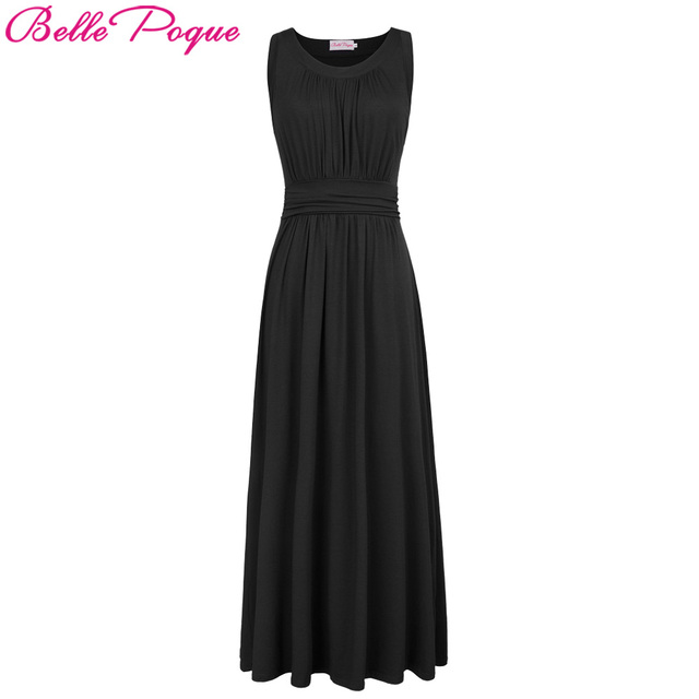 Sleeveless maxi dresses solid color