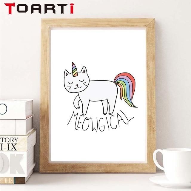US $2.71 32% OFF|Magische tier Katze A4 Portrait Leinwand Poster Kunst,  Malerei Wand dekor Wandbilder Für Kinderzimmer Dekoration Zubehör in ...