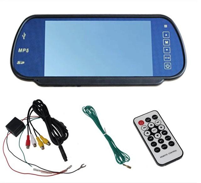 Envío libre 7 pulgadas de coches retrovisor LCD monitor con USB/SD/MP5, dos entradas de vídeo